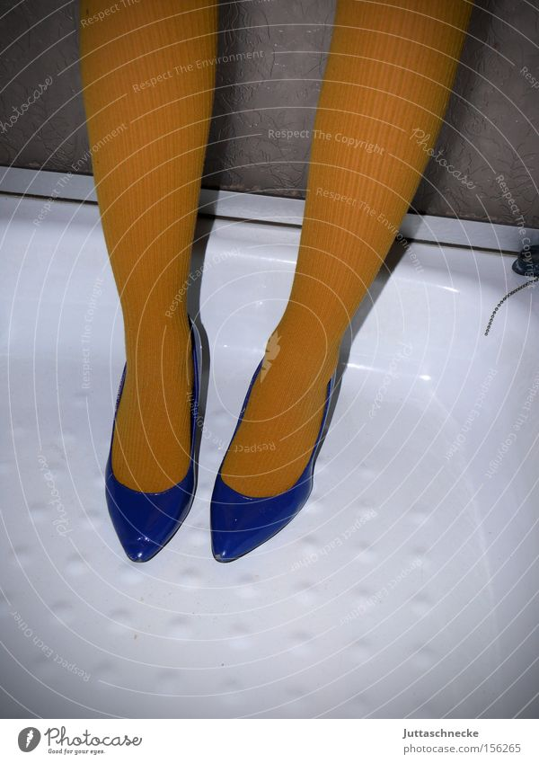 Woman Blue Yellow Legs Footwear Pure Tights Shower (Installation) Household Quality High heels Take a shower Shower tub