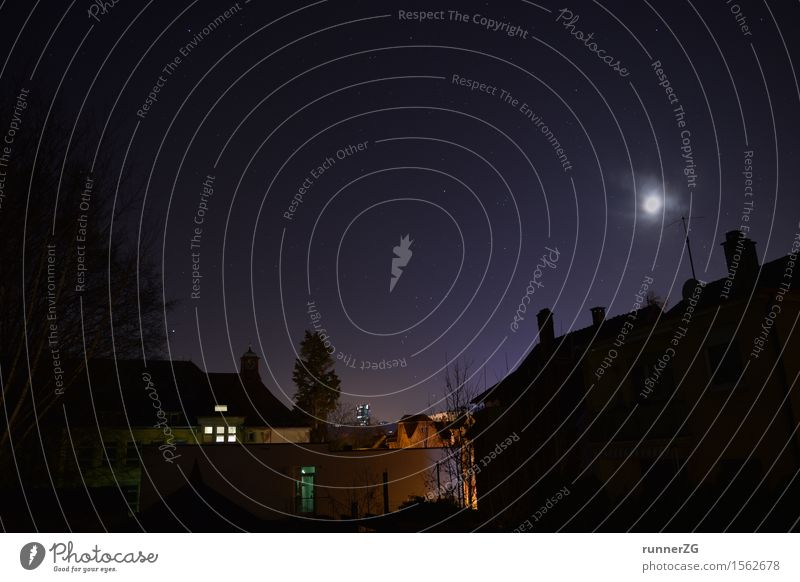 Starry sky over the city Sky Cloudless sky Night sky Stars Horizon Moon Esslingen district House (Residential Structure) High-rise Violet Nature Dream