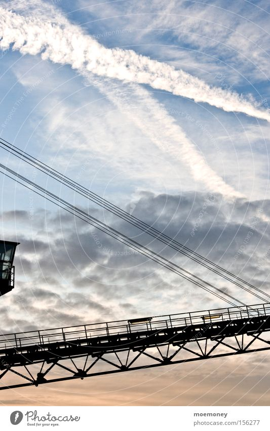 Sky over Waltrop Crane Industrial Photography Industry Sunset Clouds Vapor trail Muddled Silhouette Autumn waltrop