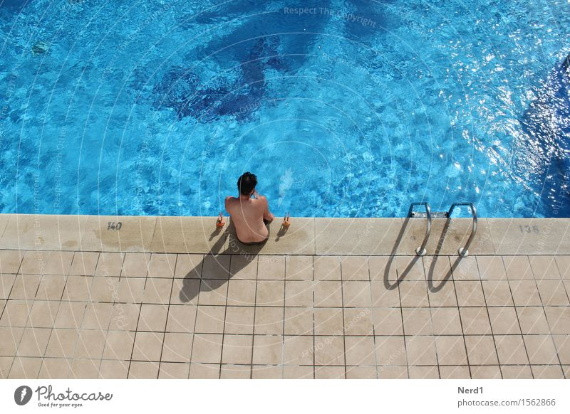 Pool Boys Swimming pool Swimming & Bathing Leisure and hobbies Playing Vacation & Travel Sunbathing Waves Masculine Skin Head Back 1 Human being To enjoy Blue