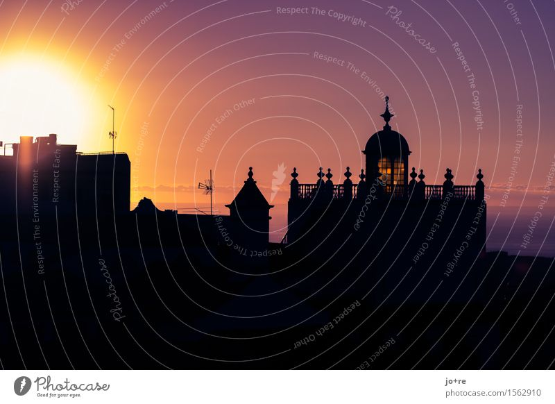 evening prayer Architecture Sky Sun Tenerife Canaries Small Town Port City House (Residential Structure) Church Tower Illuminate Vacation & Travel Historic