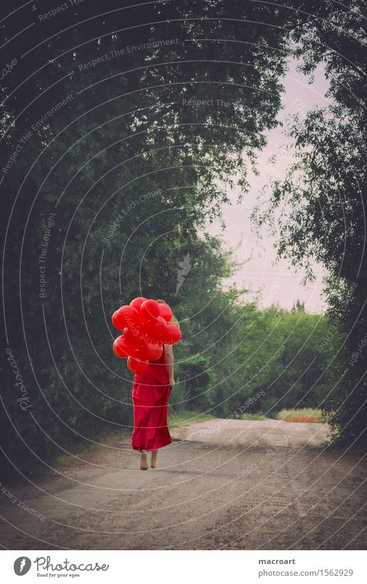 summer Balloon Hot Air Balloon Woman Red Dress Summer Spring Green Ball gown Noble Feminine Elegant To go for a walk Going Lanes & trails Barefoot Tree Flying
