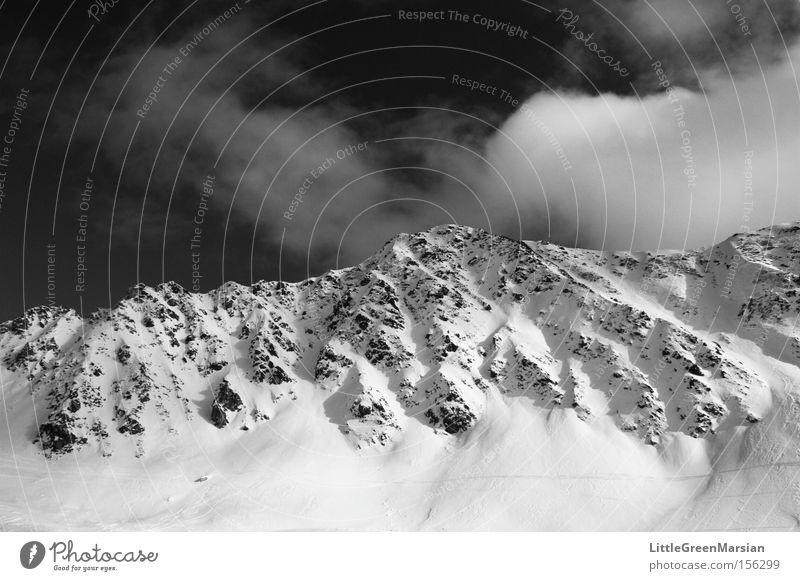 maintäli Mountain Mountain ridge Snow Rock Sky Clouds Black & white photo Parsenn Davos Ski resort Light Shadow Switzerland Winter monasteries
