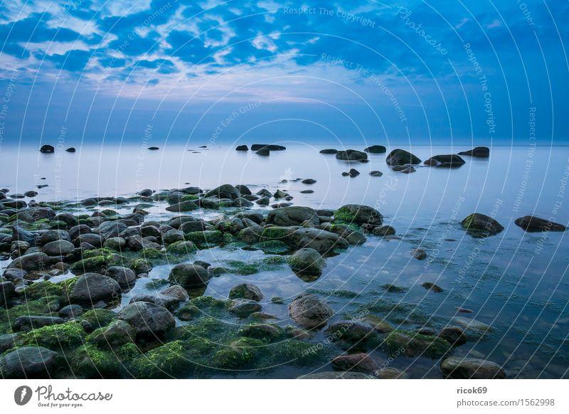 Nature Vacation & Travel Blue Ocean Relaxation Landscape Clouds Calm Beach Coast Stone Rock Tourism Idyll Romance Baltic Sea