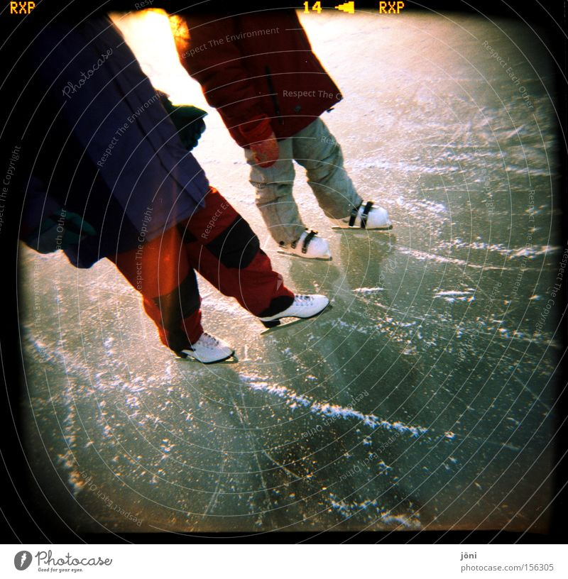 Ice cream lovers (3) Water Ice-skates Ice-skating Friendship Winter Frost Reflection Holga Nature Lake Lomography Sun Winter sports Light