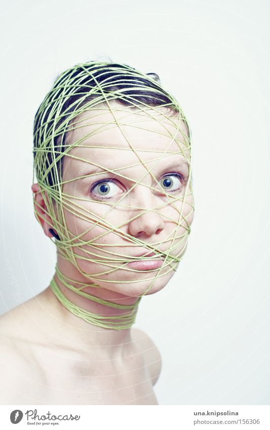 ...ficelle Face Handcrafts Craft (trade) Human being Woman Adults Head String Net Green Pure Bound Entangle Integration Lie (Untruth) Coil Colour photo