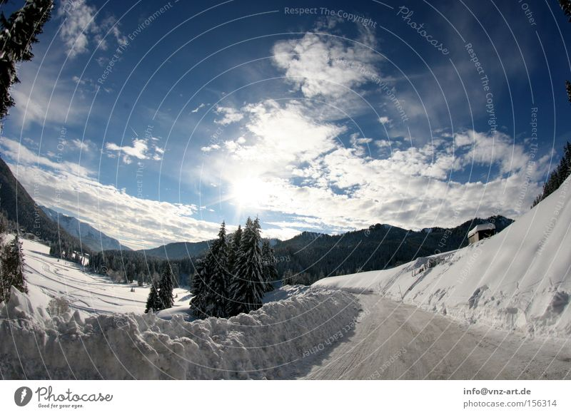 Sky White Sun Blue Winter Street Snow Mountain Dream Landscape Snowscape December Fisheye