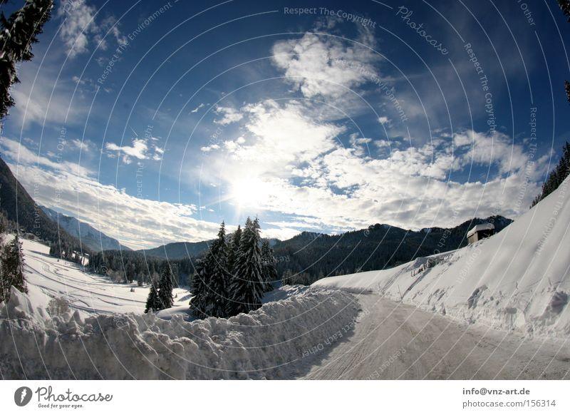 Sky White Sun Blue Winter Street Snow Mountain Dream Landscape Snowscape December Fisheye