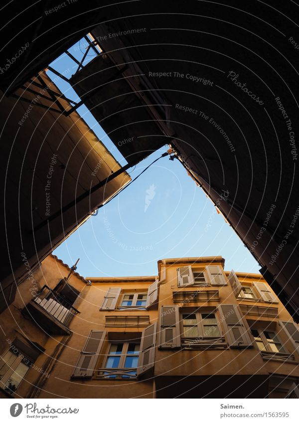 Heavenly house facade houses House (Residential Structure) Facade Building Window Balcony Shutter Sky Worm's-eye view Blue sky Abstract Deserted Architecture