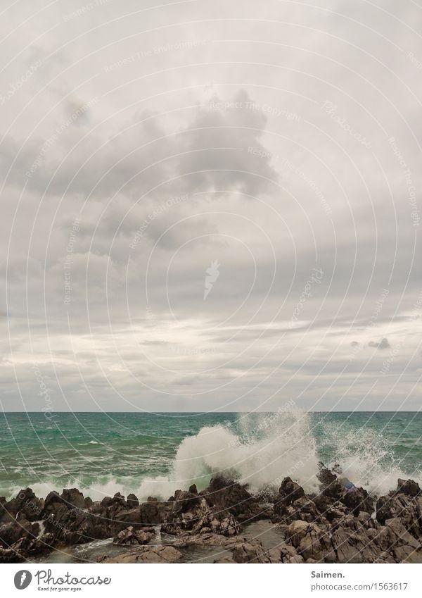 Sky Summer Water Ocean Clouds Coast Stone Rock Waves Air Power Threat Might Elements Splash of water Wave break
