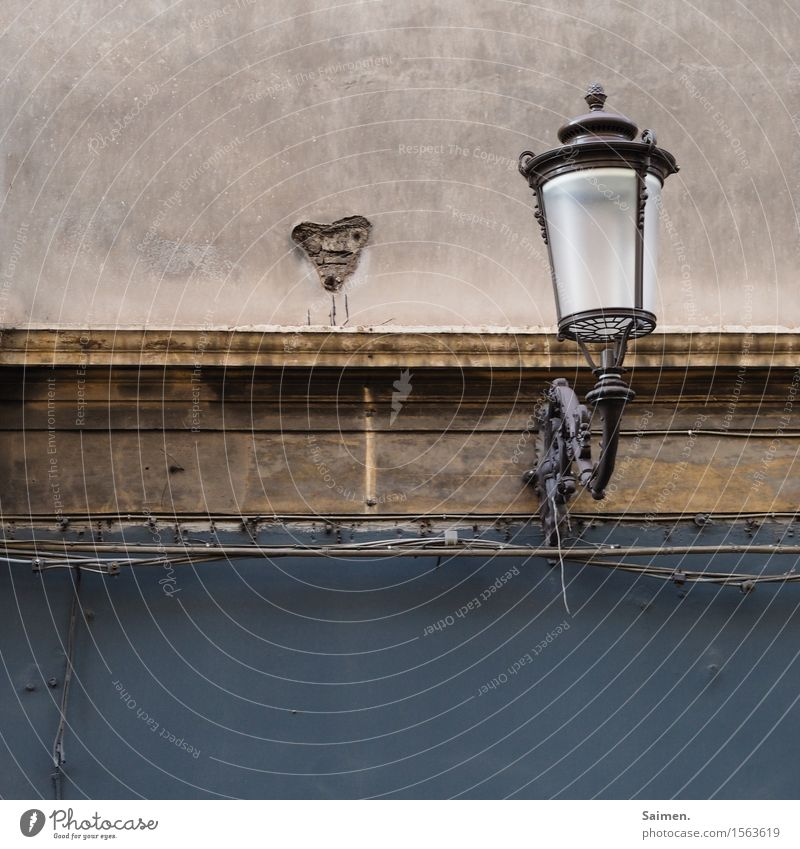 Old House (Residential Structure) Wall (building) Wall (barrier) Lamp Facade Dirty Heart Old town Lampshade
