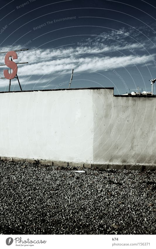 S Letters (alphabet) Wall (barrier) Sky Red Clouds Gravel Pebble Traffic infrastructure Exhibition Trade fair Characters