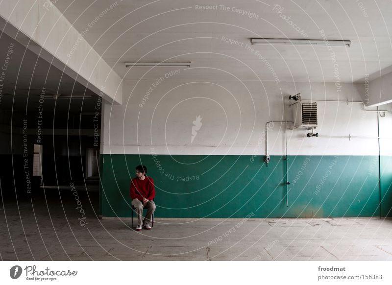 Man Loneliness Work and employment Window Empty Broken Industry Smoking Derelict Tile GDR Boredom Armchair Rügen Guide