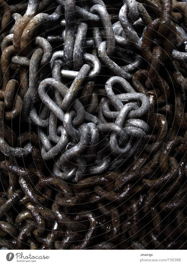 In Chains Colour photo Subdued colour Exterior shot Craft (trade) Construction site Metal Rust Lie Old Dirty Dark Gray Black Silver Safety Distress Aggression