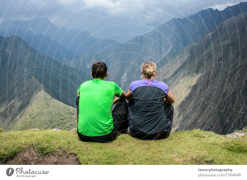 twosome Vacation & Travel Adventure Far-off places Camping Mountain Hiking Couple Partner 2 Human being Landscape Canyon Machu Pichu Peru South America Observe