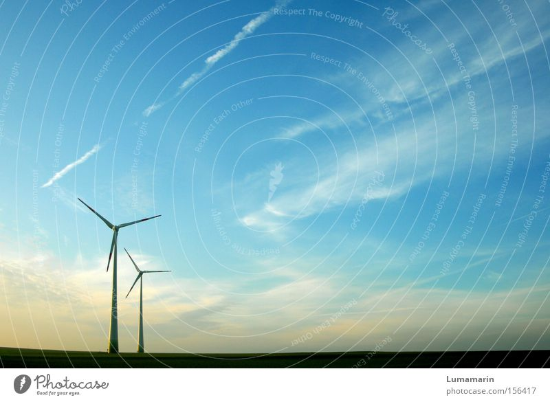Sky Clouds Far-off places Air Wind Large Horizon Force Industry Energy industry Electricity Technology Wind energy plant Plain Renewable energy