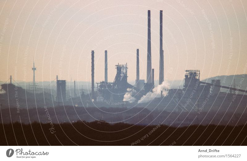 Ruhrpottromatik Industry Environment Landscape Sky Hill Industrial plant Factory Manmade structures Building Architecture Chimney Smoke Dirty Dark Gigantic