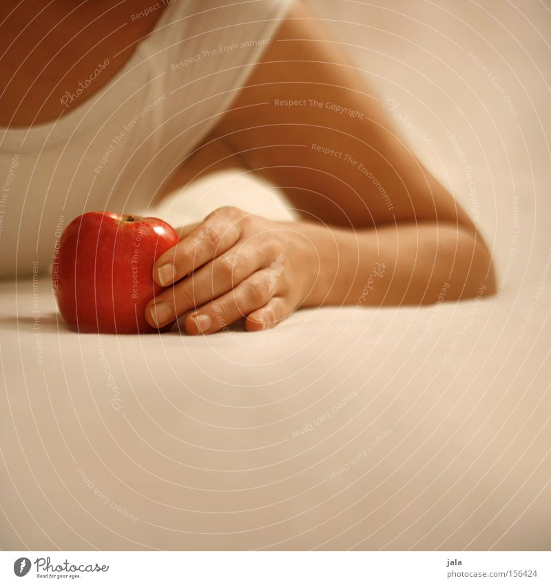 eva IV Apple Woman Hand Smooth Bright Lie Caresses Arm Sin Red Healthy Fruit Alluring