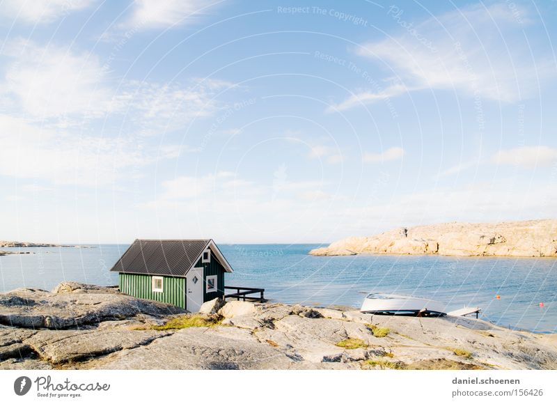 ready for a holiday House (Residential Structure) Hut Ocean Sweden Scandinavia Sky Weather Summer Wood Green Blue Water Horizon Sun Light Colour Beach Coast