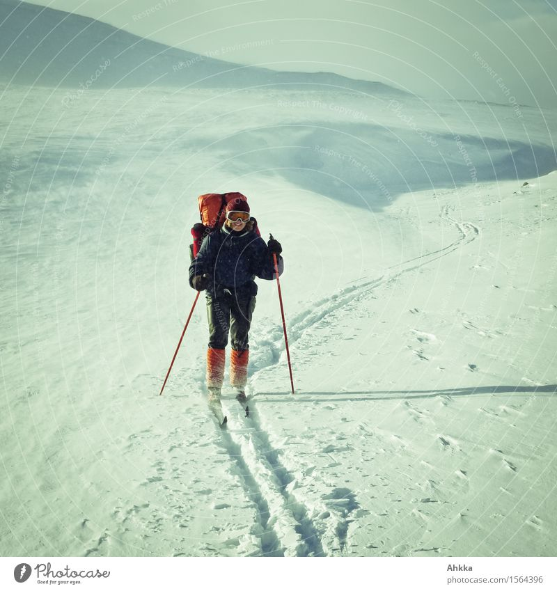 Human being Vacation & Travel White Landscape Loneliness Winter Mountain Cold Life Feminine Snow Sports Orange Wild Hiking Power