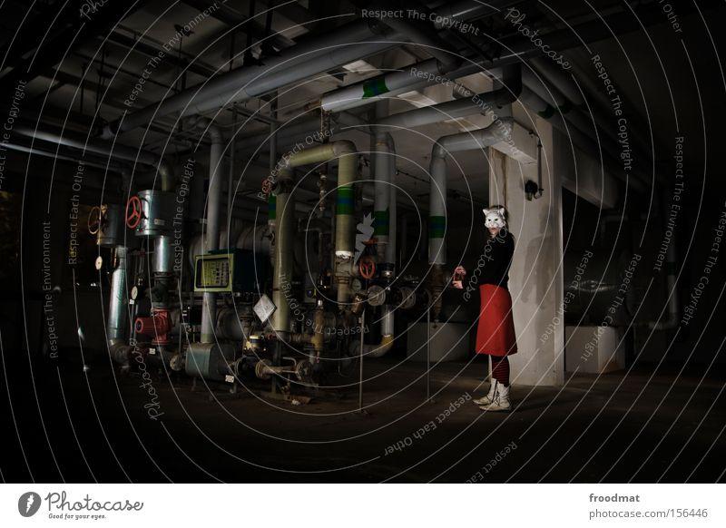 Loneliness Dark Cat Moody Art Culture Mask Creepy Derelict Iron-pipe Surrealism Heater Heating Rügen Cellar
