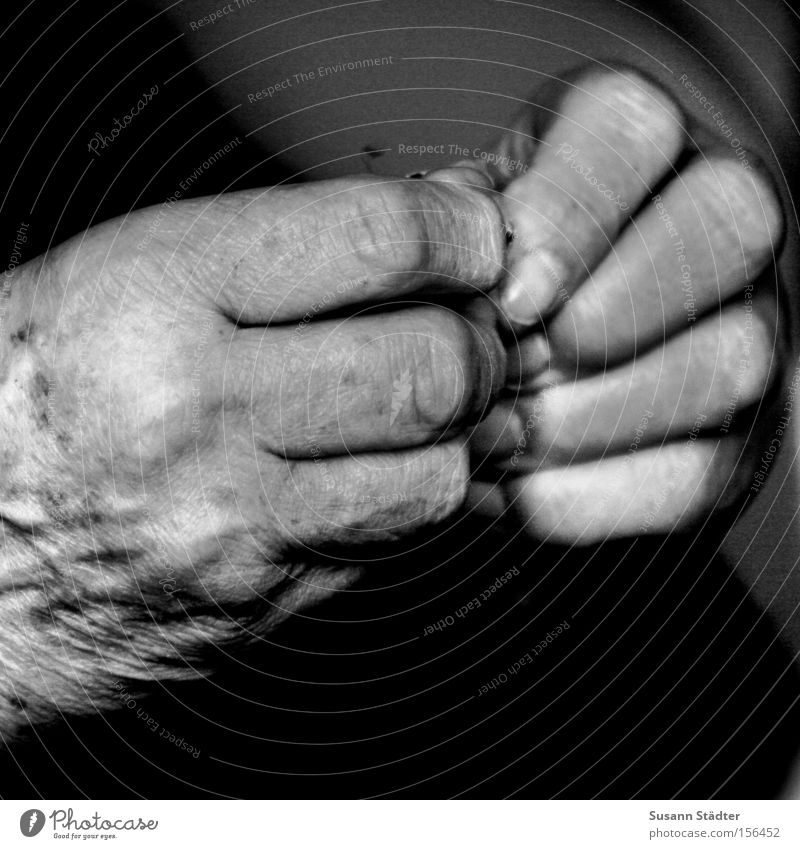 Old Hand Loneliness Calm Warmth Senior citizen Gray Free Fingers Wrinkles Wrinkle Grandmother Safety (feeling of) Prayer Thought Stay