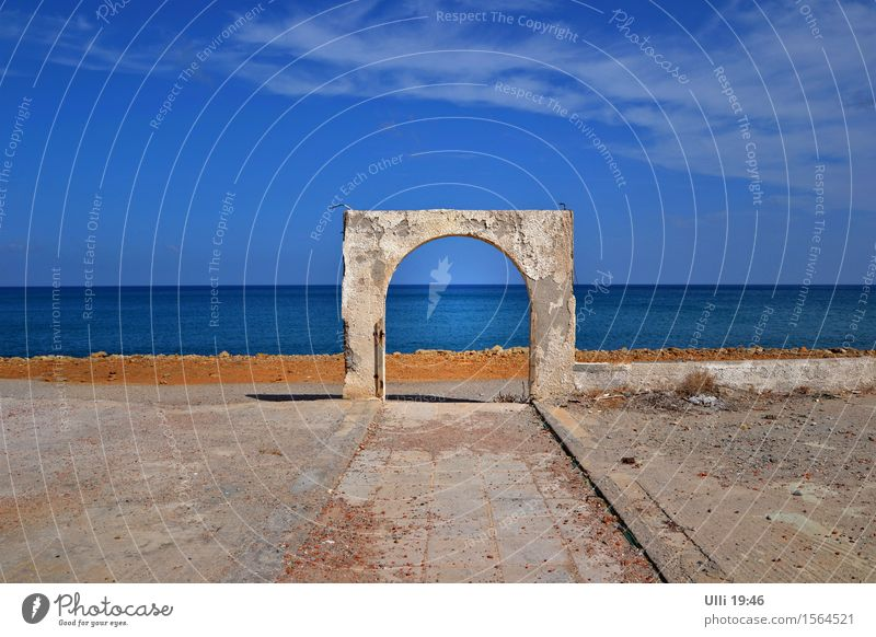 Sky Vacation & Travel City Old Blue Ocean Relaxation Landscape Far-off places Beach Wall (building) Autumn Coast Wall (barrier) Freedom Stone