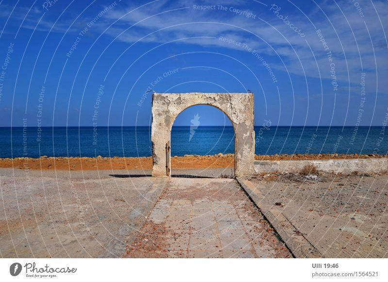 Vacation & Travel Trip Far-off places Freedom Beach Ocean Mediterranean sea Landscape Elements Earth Sky Horizon Autumn Beautiful weather Coast Greece Outskirts