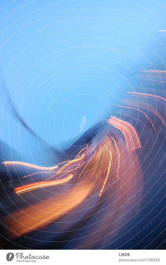 Life is motion Light Speed Rotation Blue Street Twilight Night life Swing Long exposure Movement Gold Energy industry