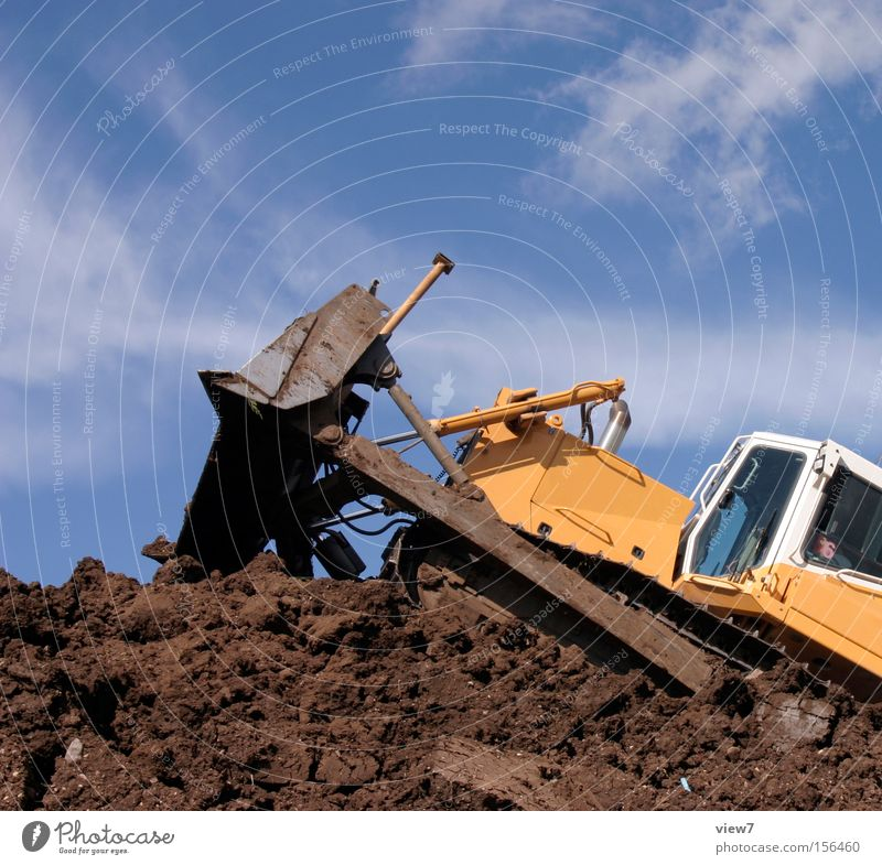 Excavator driving Tracked vehicle Bulldozer Construction site Machinery Equipment Heavy Diesel Chain Push Driver Work and employment Dirty