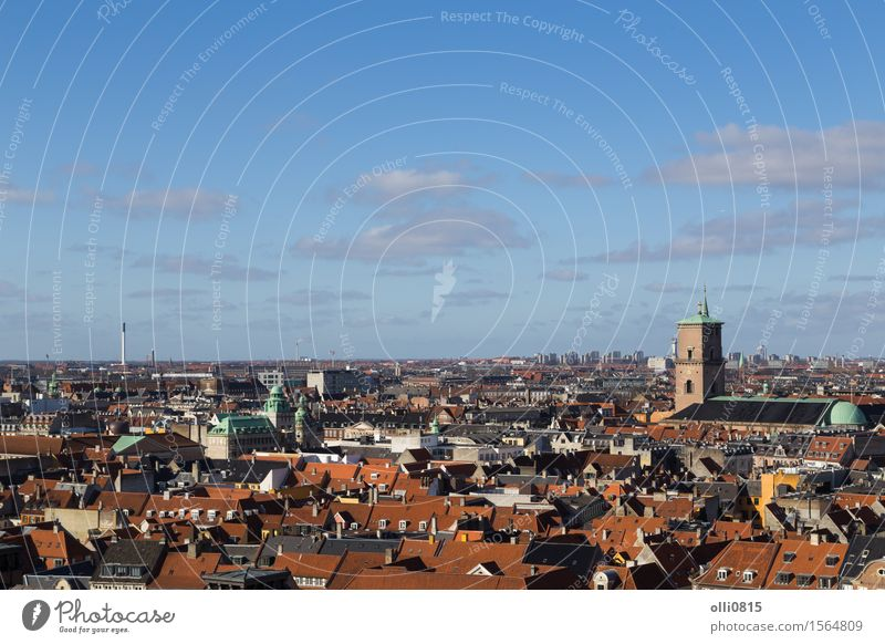 Copenhagen Skyline View from Christiansborg tower Vacation & Travel Tourism Sightseeing Landscape Horizon Baltic Sea Denmark Europe Small Town Church Above