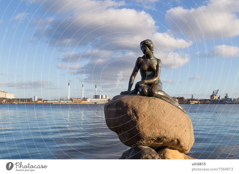 Little mermaid in Copenhagen, Denmark Vacation & Travel Tourism Sightseeing Young woman Youth (Young adults) Woman Adults Art Sculpture Harbour Monument Town
