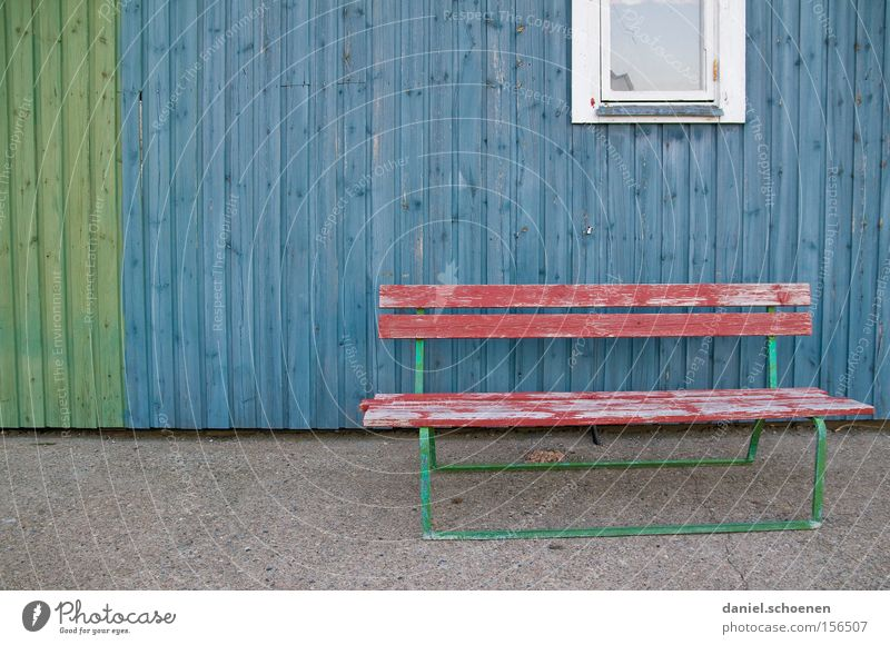 Blue Red Calm Colour Wood Facade Empty Grief Bench Distress Weathered