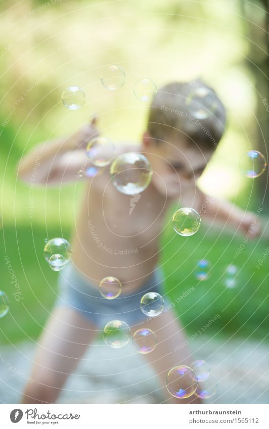 Boy has fun with soap bubbles Joy Playing Children's game Summer Summer vacation Birthday Parenting Human being Masculine Boy (child) Infancy Life 1 3 - 8 years