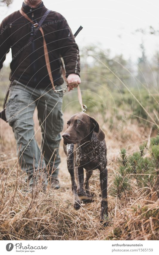 Human being Dog Nature Plant Landscape Animal Forest Adults Environment Life Movement Grass Going Masculine Park Field