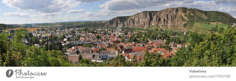 Ebernburg with Rotenfels Landscape Clouds Horizon Summer Rock Village Small Town House (Residential Structure) Blue Brown Gray Orange Red bad kreuznach