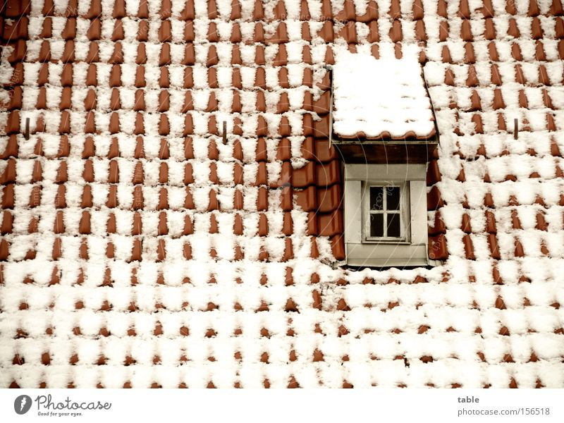 Old White Red Winter Loneliness Cold Snow Window Glass Crazy Roof Village Craft (trade) Historic Window pane Roofing tile