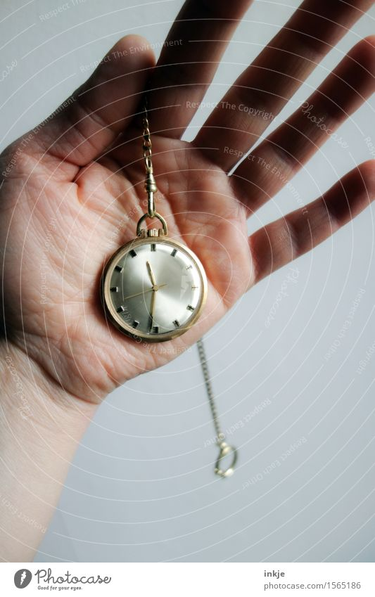 shortly after half Lifestyle Luxury Clock Hand Palm of the hand 1 Human being Fob watch Collector's item Metal Gold Old Simple Nostalgia Time Ancient Legacy