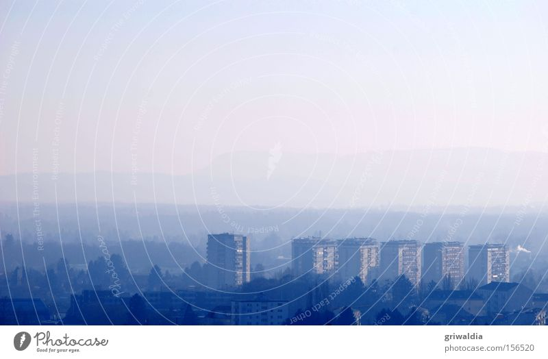 blue ensemble Tower block House (Residential Structure) Flat (apartment) Town Graz Horizon Fog Blue Cold Exterior shot Tall Hill Winter Europe