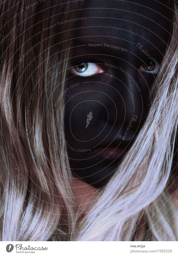 black face with striking eyes Feasts & Celebrations Carnival Hallowe'en Human being Feminine Young woman Youth (Young adults) Woman Adults Face Eyes 1