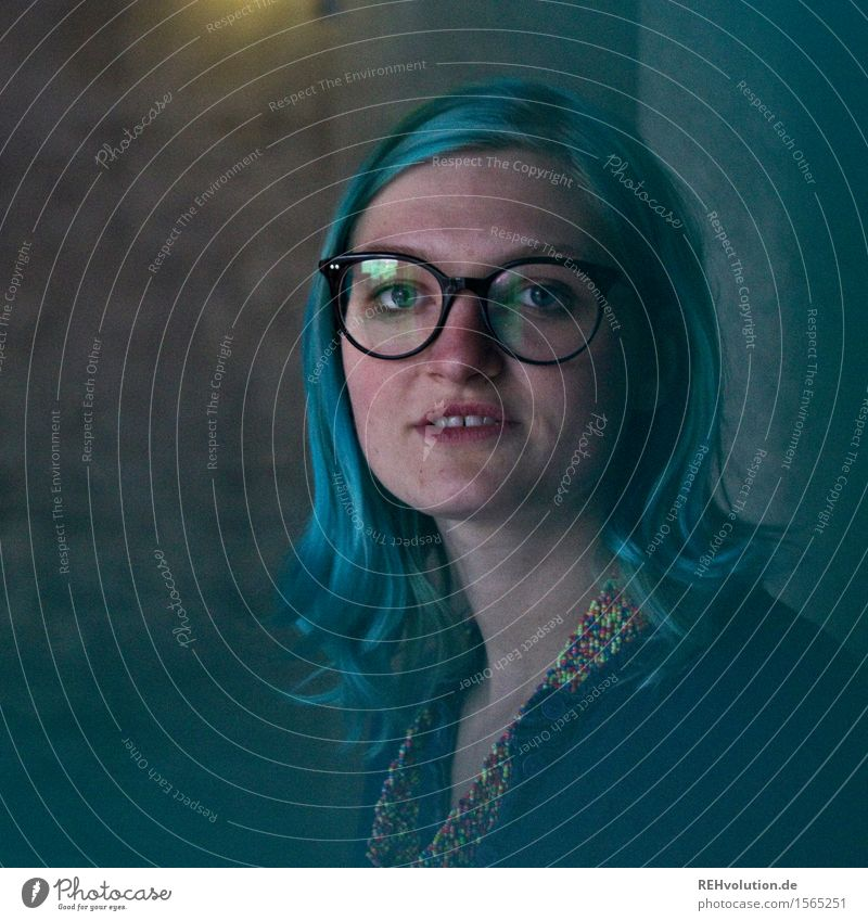 """""""What's up, my nerds?"""" Human being Young woman Youth (Young adults) 1 18 - 30 years Adults Stand blue hair Eyeglasses Nerdy Concrete Town Reflection Exceptional"""