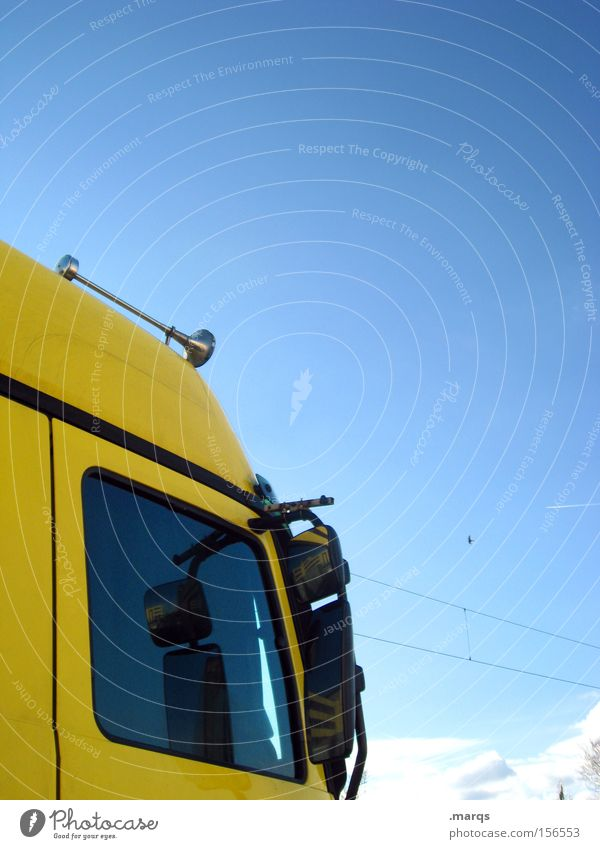 Horn Please Yellow Street Work and employment Transport Industry Driving Logistics Mirror Truck Services Mobility Trade Company Vehicle Means of transport