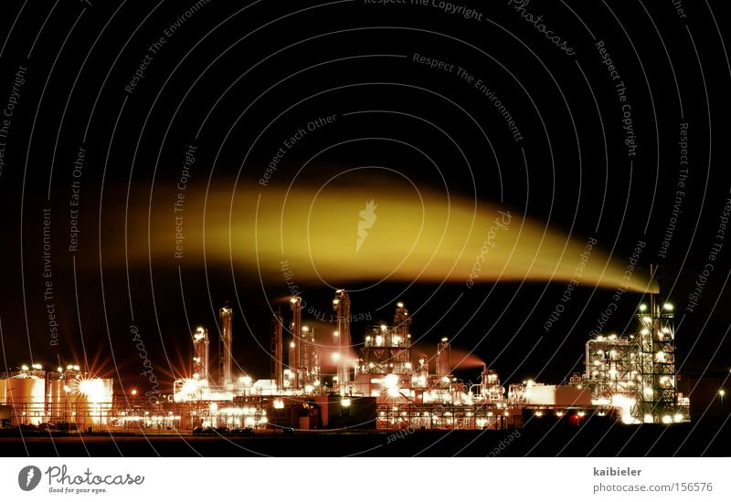 Red Black Brown Industry Energy industry Light Chemistry Industrial plant Environmental pollution Set Chemical Industry Night shot High-tech Refinery Saxony-Anhalt Air pollution