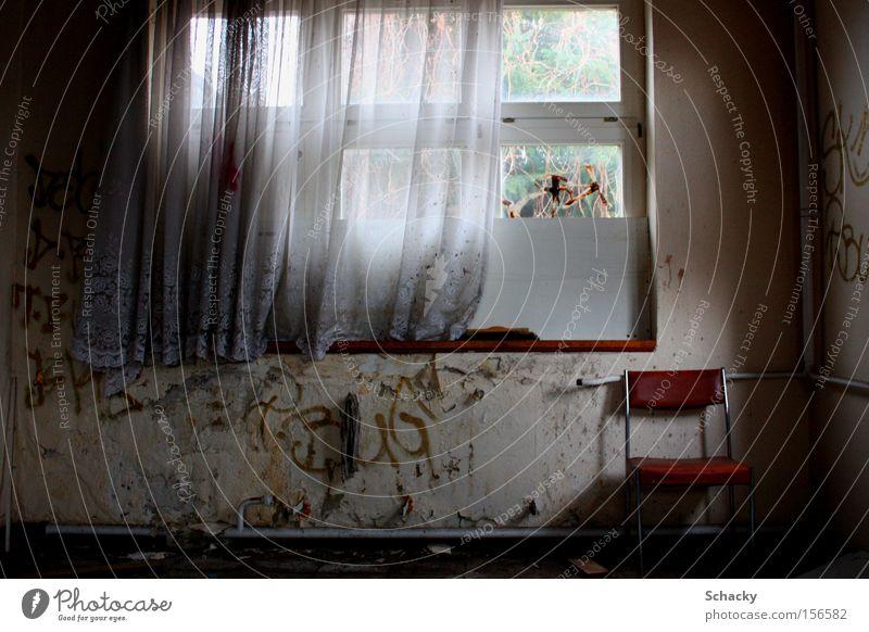 Loneliness Dark Sadness Building Fear Wait Grief Chair Broken Longing Drape Panic Curtain