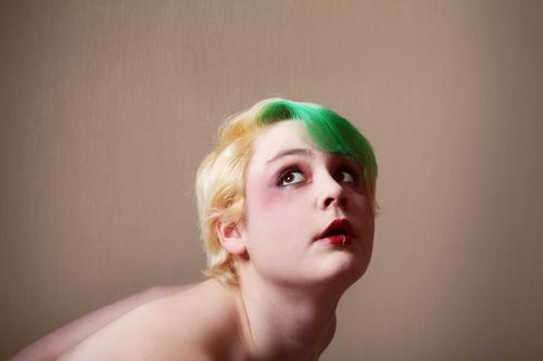 weight on the shoulders Human being Feminine Expressive Blonde Portrait photograph Face Head Feeble green hair Make-up