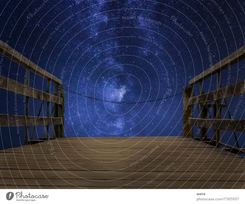 Stairway to heaven - closed! Night sky Places Bridge Observatory Dark Blue Brown Jetty Astronaut Astronomy Wooden board Geography Sky Wooden floor Footbridge