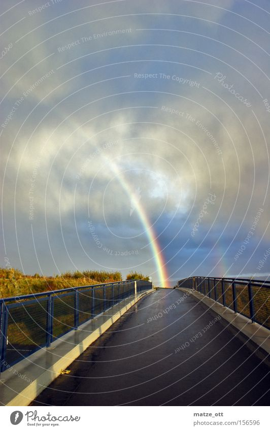 somewhere under the rainbow Rainbow Weather Nature Sky Prismatic colors Colour Thunder and lightning Bridge Autumn lucky bear Multicoloured Clouds Hail Gale