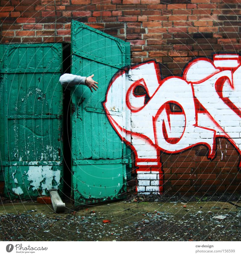 Human being Man Hand White Green Red Adults Wall (building) Graffiti Wall (barrier) Art Door Arm Masculine Fingers Search
