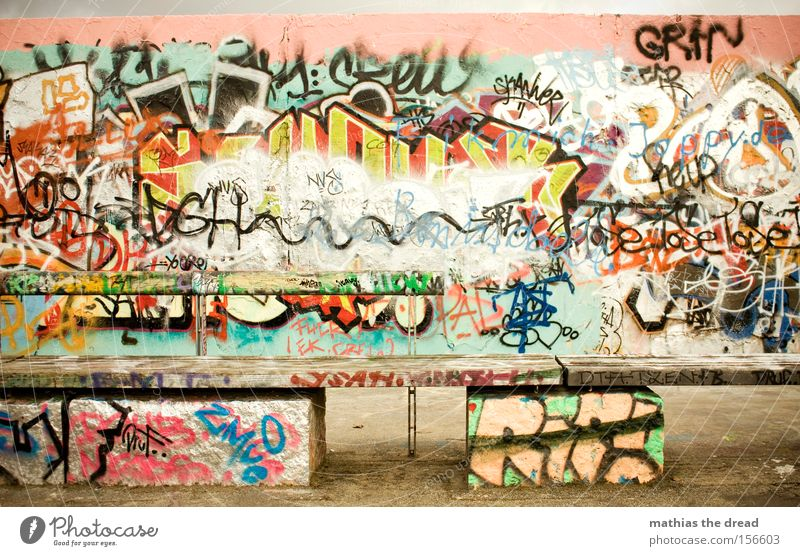 wall park Wall (building) Graffiti Multicoloured Colour Dye Youth culture Bomb Style Beautiful Daub Dirty Joie de vivre (Vitality) Bench Full Muddled Derelict