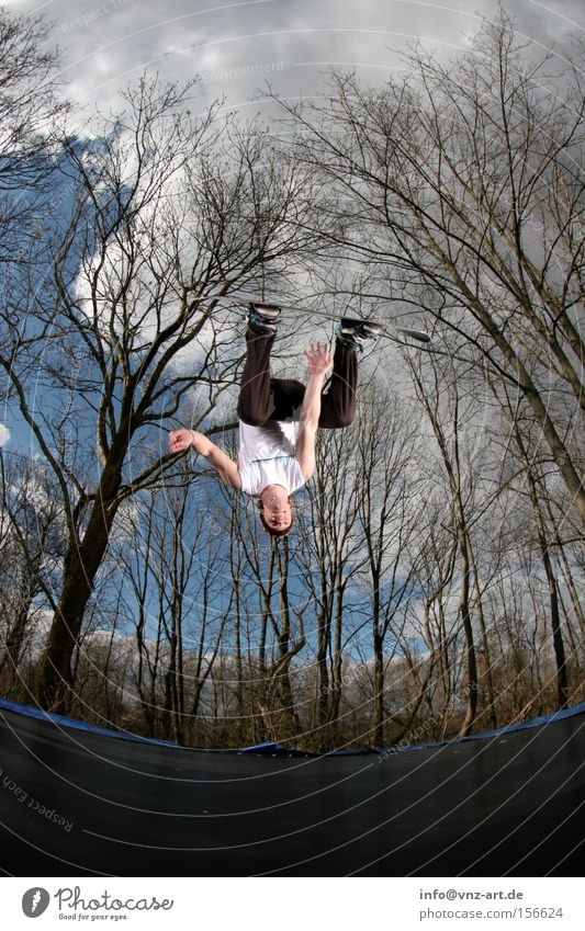 Training for winter part 2 Trampoline Snowboard Trick Jump Sky Fisheye Tree Blue Green Back somersault Salto Cap Jacket Pants Winter Summer Extreme sports